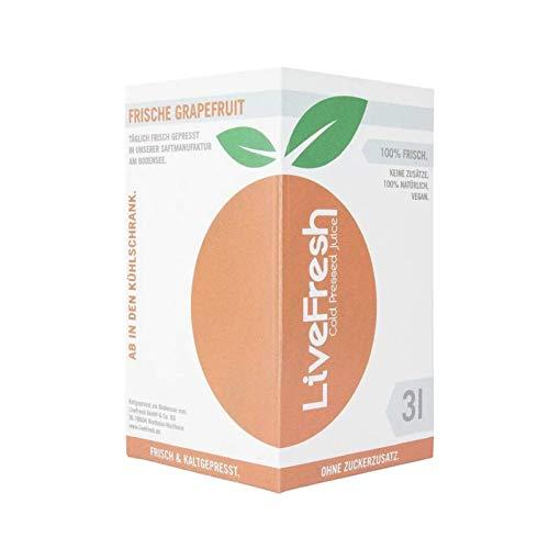 LiveFresh Frisch & Kaltgepresster Grapefruitsaft 3 Liter Box | 100% aus frischen Grapefruits gepresst | Hergestellt in Deutschland I Keine Zusätze, kein Zuckerzusatz | Gekühlt und isoliert geliefert