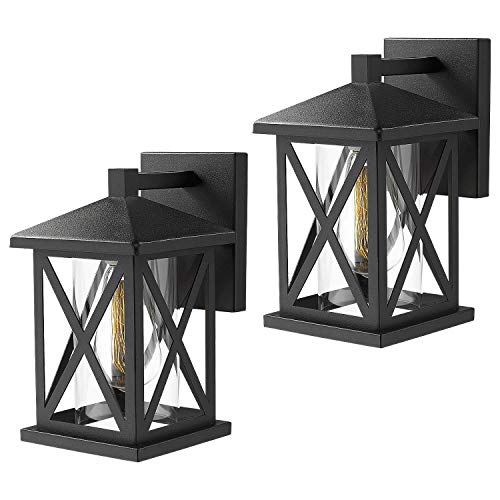 Jazava Outdoor Wall Sconce Light Fixtures 2 Pack, 11.5 inches Height Exterior Wall Mounted Lights Sconces Porch Lantern with Cylinder Clear Glass, Matte Black Finish
