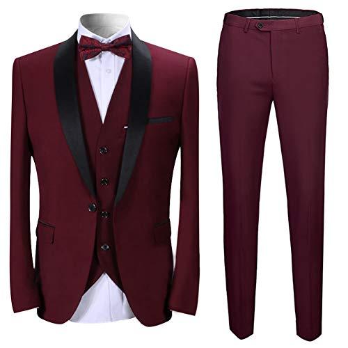 Sliktaa Herren Anzug 3 Teilig Slim Fit Reihe einfarbig Stoff Business Shawl Kragen Rot Large