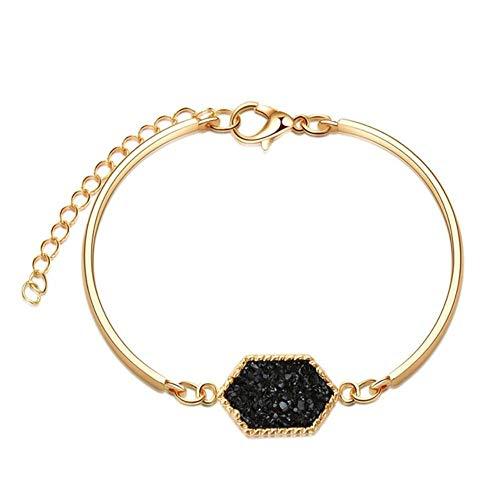 Qingsb Fashion Crystal Geometrische natuursteen Bedelarmbanden voor dames Bohemian Crystal Roestvrij stalen armbanden Koppelsieraden, 9