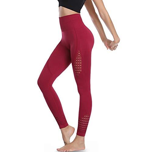 Amazon Brand – Eono Yoga Leggings Damen Sport Tights Sporthose Sportleggins Lang High Waist Leggins Hose Seamless Kompressionsleggins,Medium-Weinrot