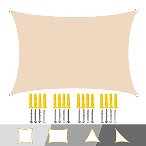 Sonnensegel, Rechteckig UV Schutz Sonne Schatten Segel mit Seilen und Befestigungskit, Wasserdicht Wetterschutz, für Draussen Garten-Beige|| 2x2.5m(6.5x8ft)