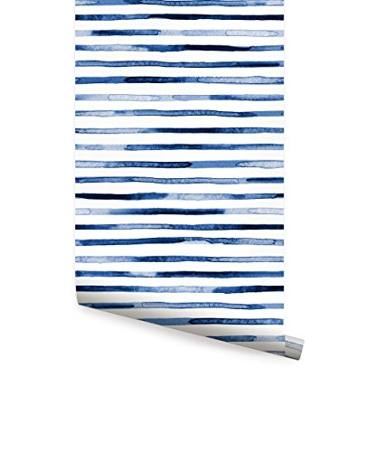 Watercolor Stripes Wallpaper - Blue - Peel and Stick - by Simple Shapes (Single Sheet 2ft x 9ft)