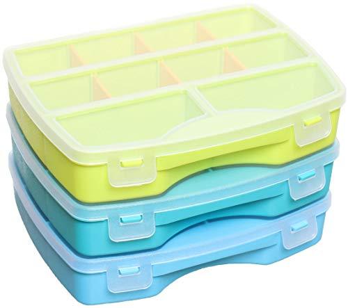 idea-station Sortimentskasten-Set 3 Stück, 19 x 15 cm, cool, Aufbewahrungs-Box, Sortierbox, Sortier-Kasten, Setzkasten, Kleinteilemagazin, Plastikbox, Ordnungs-System, Ordnungs-Box