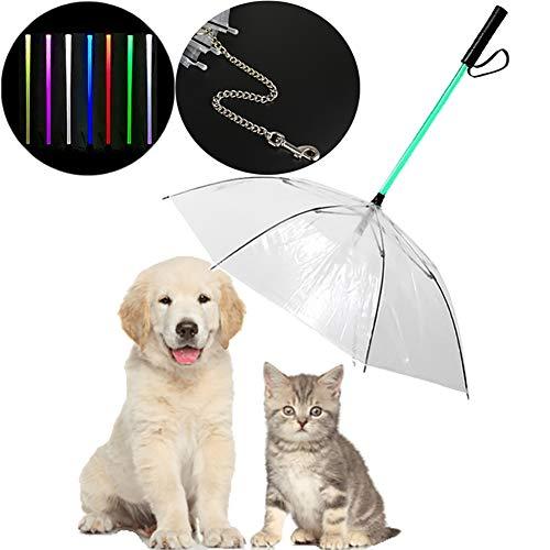 MeterMall LED 7 Farben ändern transparenten Haustier-Regenschirm mit Hundeleine für das Regen-Gehen