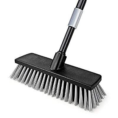 Push Broom Indoor Outdoor Floor Scrub Brush, Stiff Bristles with 49.6 Inches Adjustable Long Handle, for Cleaning Bathroom Kitchen Patio Garage Deck Tile Marble, Stone Wood Floors