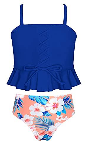 SHEKINI Girls Sports High Waisted Bikini Set Bandeau Ruffle Flounce Two Piece Swimsuits (Printing - Blue, 12-14 Years)