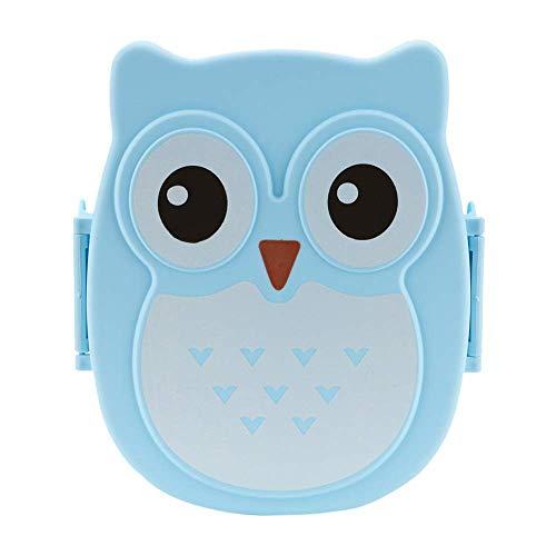 HYLH Caja de Almuerzo en Forma de búho de Dibujos Animados Bento Box Contenedor de Comida portátil con Cuchara para niños Niño Estudiante Caja de Almacenamiento de Comida Picnic al Aire Libre, Azul