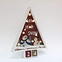 PIONEER-EFFORT Christmas Wooden Advent Calendar Tree with 9 LED Lights and 2 Blocks for Countdown to Christmas Decoration (Let it Snow)