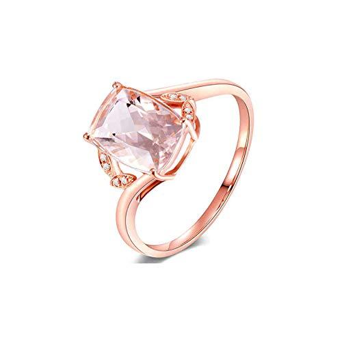 AueDsa Ringe Rosegold 18 Karat (750) Rotgold Ringe für Damen Rechteck Morganite Pink Weiß 1.85ct Größe 56 (17.8)