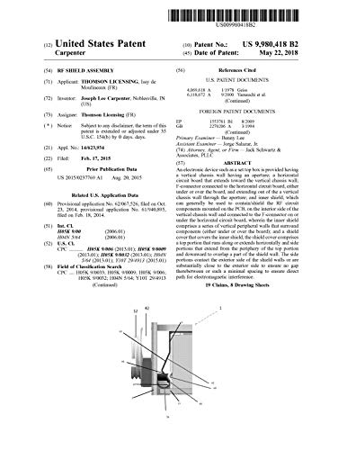 RF shield assembly: United States Patent 9980418 (English Edition)