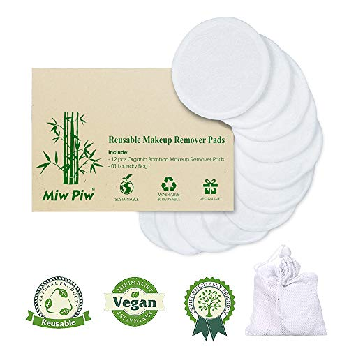 Miw Piw Reusable Cotton Pads Face Pack 13 Washable Makeup Remover Laundry Bag Skincare Cleaning Bamboo Cloth Rounds Facial Wipes Eye Lip