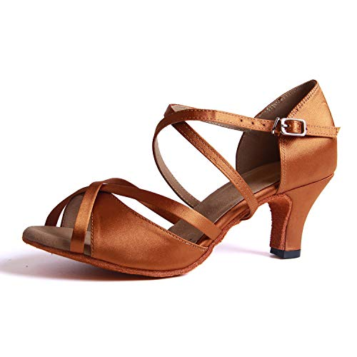 Syrads Chaussures de Danse Latine Femmes Salsa Bachata Moderne Tango Valse Chaussures Danse De Salon - Marron - 36 EU