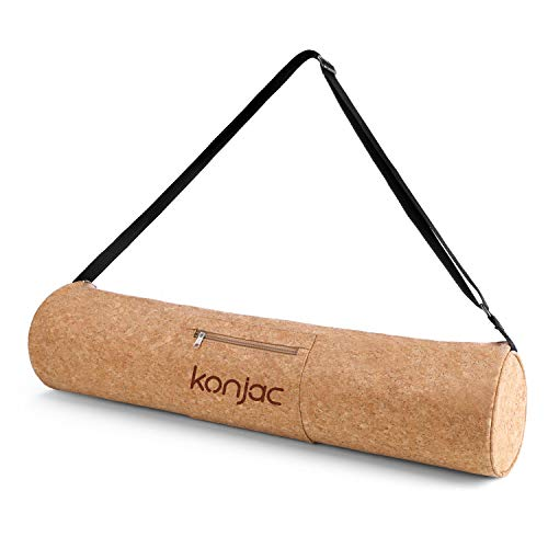 konjac Yoga Borsa in Sughero, Mat Bag Carrier Borse in Cork con Tasche per Sacca, Cinghia Regolabile, Materiale Naturale al 100{417dc52541a1da4892f06af360eddfc8bf80be8c97661173d0b5685c84b3558a}