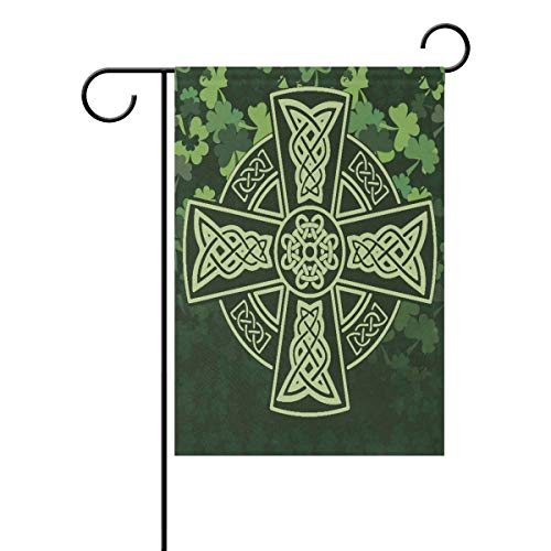 UNIIK Polyester Celtic Cross Shamrock Garden Flag, Double Sided, Perfect Decor for Outdoor Yard Porch Patio Farmhouse Lawn, 28 x 40 Inch