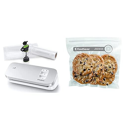 FoodSaver VS1191X Envasadora al vacío de alimentos compacta con accesorio sellador manual + FVB015X Bolsas para envasador al vacío con cierre tipo zip, 0.95 litros