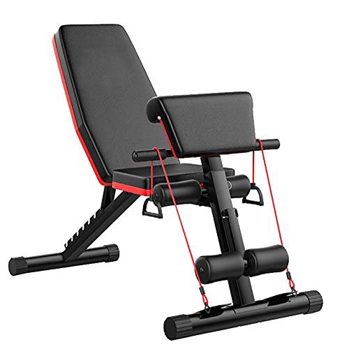 JIAX Banco de peso plegable ajustable multifunción con asiento inclinado, equipo de ejercicio para entrenamiento en casa gimnasio Set para prensa de banco de entrenamiento de cuerpo completo