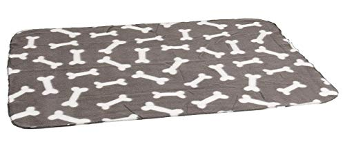 Karlie 1030691 Manta de Terciopelo 100 x 70 cm Gris con Estampado de Huesos