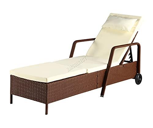 BIRCHTREE Rattan Day Chair Recliner Sun Bed Lounger Wicker Outdoor Garden Furniture Terrace Patio SRL01 Brown