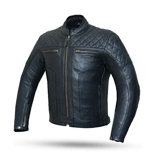 DEGEND CLASSIC | Chaqueta de Cuero Hombre | Chaqueta de Moto con Protecciones Extraíbles - Chaqueta de Piel - Ropa de Motociclista - Chaqueta Motera Hombre Color Negra - Tallas (S-6XL)