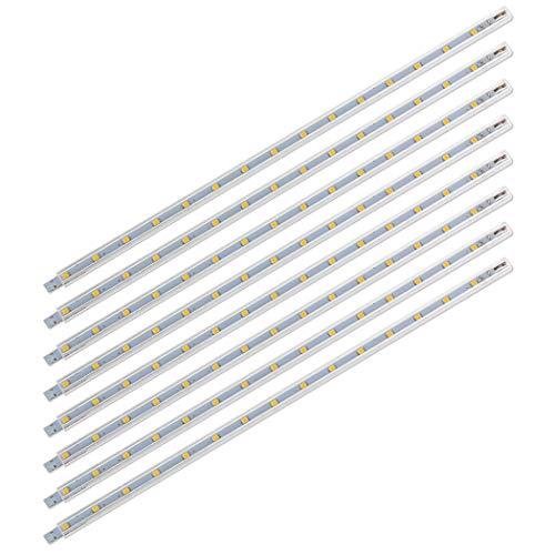 SEBSON® LED Leiste 12V warmweiß 8-tlg - Unterbauleuchte 30cm Küche, Lichtleiste mit Stecker und Schalter - 8,8x6,7x300mm