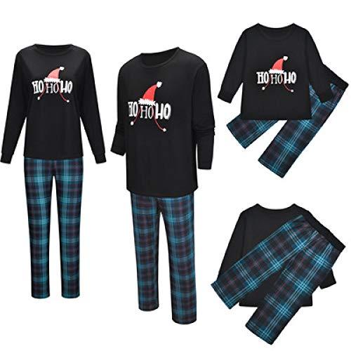 Pyjama Damen Nachthemd Schlafanzug Weihnachtsdruck Eltern-Kind-Pyjama Gedruckte Bluse Tops Hosen Weihnachten Familienkleidung Pyjamas Dadl Schwarz