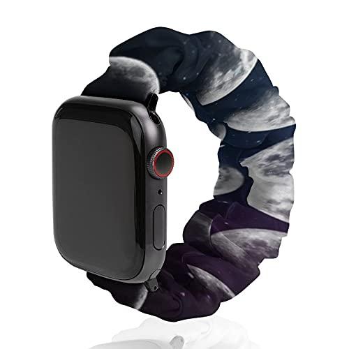 Correa de repuesto para hombre y mujer, compatible con Apple Watch de 42 mm/44 mm, suave y elástica para iWatch Series SE 6/5/4/3/2/1, Fases de la Luna Azul Negro