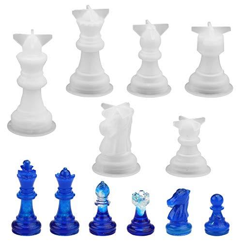 Molde de silicona de ajedrez,6 piezas 3D damas molde de resina borradores internacionales pieza molde de resina de ajedrez molde de fundición de resina epoxi de silicona juego de ajedrez hecho a mano