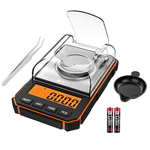 Brifit Báscula de Precisión Digitale, 50g/0.001g Balanzas de Portátiles con Peso de Calibración de 50g, Pinzas, Plato de Pesaje (Batería Incluida, Naranja)