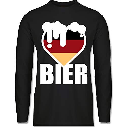 Shirtracer Oktoberfest & Wiesn Herren - Herz mit Bier - Deutschland - M - Schwarz - BCTU005_Herren_Langarm - BCTU005 - Herren Langarmshirt