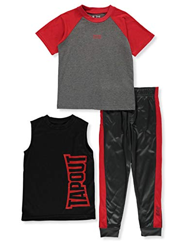 Tapout Big Boys' Vertical Logo 3-Piece Joggers Set Outfit - red, 10