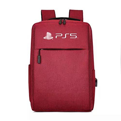 LUONE Mochila PS5, Paquete de la Consola de Juegos Compatible con la Bolsa de Almacenamiento la Consola PS4 / PS5 Bolso de para PS5 Bolsa a Prueba Golpes a Prueba de Agua,Rojo