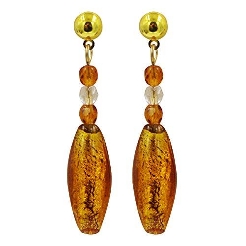 Priann Gioielli - Pendientes de mujer con perlas de cristal de Murano originales, fabricados con hoja de oro de 24 quilates o plata 925, fabricados en Italia ámbar