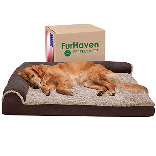 Furhaven Orthopedic Pet Bed for Dogs and Cats - L Chaise...