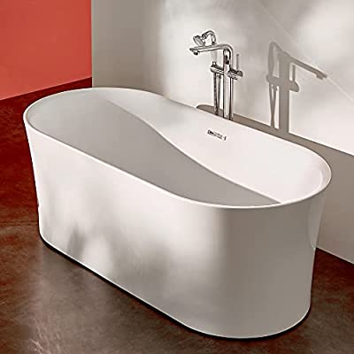 ANZZI Jericho Whirlpool Air Jetted Acrylic Freestanding Bathtub in White   Over 200 Aero-Therapeutic Bubble Massage Jets Socking Tub with Light Up Control Pad and Four Colored Bath Lights   FT-AZ067
