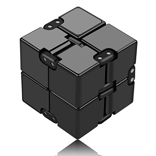 Funxim Infinity Cube Fidget Cube Toy suitable for Adults & Kids, New Version Fidget Finger Toy Stress and Anxiety relief, Killing Time Fidget Toys Infinite Cube suitable for Office Staff (Black)