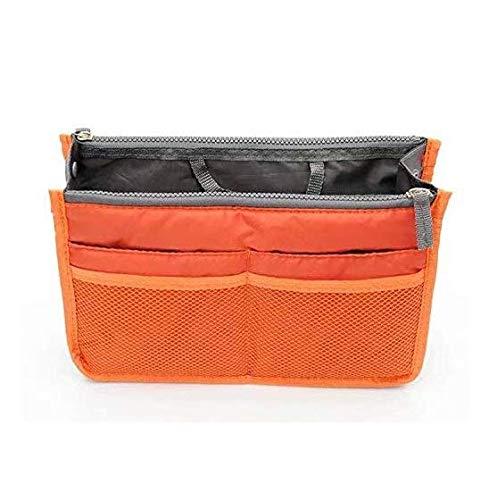 LINSUNG Wickeltasche Insert mit Griff Organizer Handtasche Geldbörse erweiterbare Liner Bag Pouch Reißverschluss Tote Organizer Orange