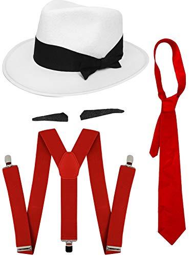 Juego de accesorios para disfraz de Gangster SPIV TASH + corbata roja + tirantes a juego + gorro trilby blanco de los años 20 para hombre al Capone (sombrero rojo de 58 cm)