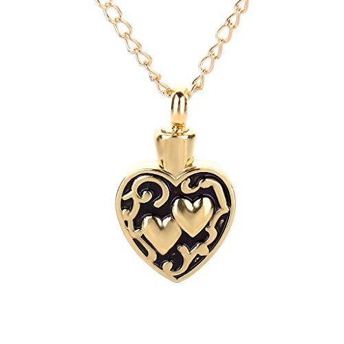 Webla Collar colgante para mujer en forma de corazón con diseño hueco botella abierta