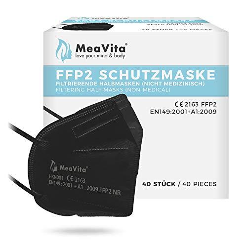 Mea Vita FFP2 Maske schwarz, EU CE Zertifizierte Mund- und Nasenschutz nach EN149:2001+A1:2009, Atemschutz hohe Filtration, Partikelfiltermaske, Gummizug 40er Pack