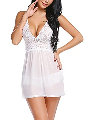 Avidlove Women Wedding Lingerie Lace Babydoll Mesh Chemise V Neck Teddy Backless Sleepwear Halter Outfits (Medium, White) from