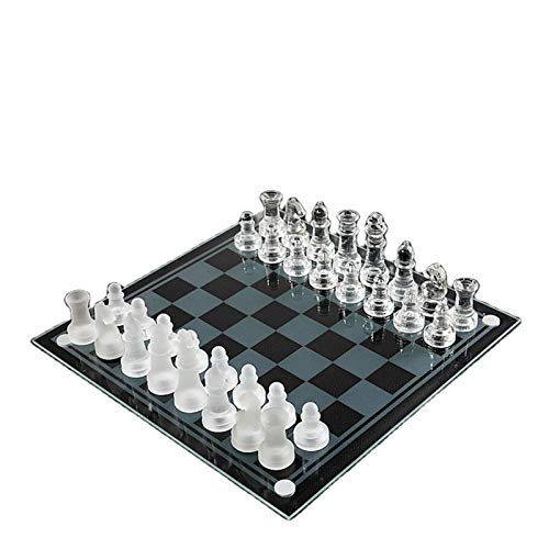 MICOLOD Casual Puzzle ChessGass Chess Piece Piece Toy Crystalchess Set International Damas, Juegos para el Regalo de cumpleaños de los niños Ajedrez Bolsillo Plegable magnético (Color : 25x25)