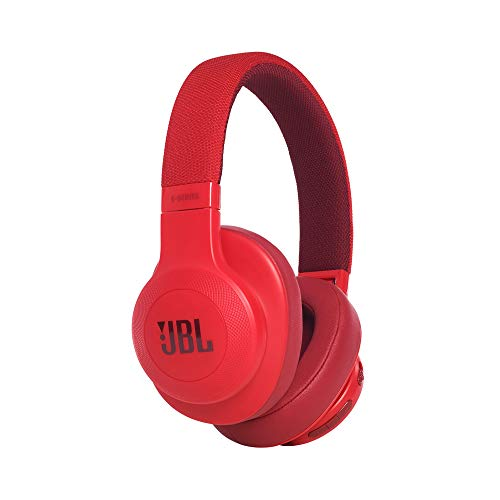 JBL E55BT - Auriculares Bluetooth Circumaurales Inalámbricos plegables con cable y control remoto universal, batería de hasta 20 h, rojo