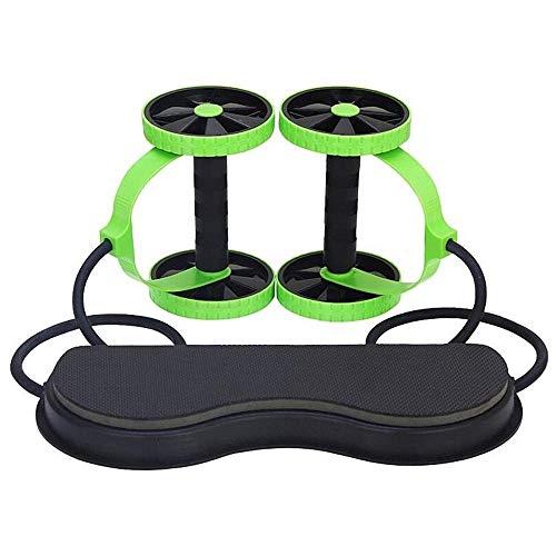 Core & Bauchtrainer Roller Double, Zweirad-Bauch Rad, Multifunktionales Bauchmuskeln - Kordelzug, Startseite Silent-Bauch-Rad Fitnessgeräte for Männer oder Frauen Ideal for beginnen sit up trainingsge