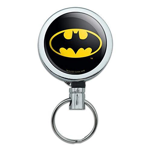 Batman Classic Bat Shield Logo Heavy Duty Metal Retractable Reel ID Badge Key Card Tag Holder with Belt Clip