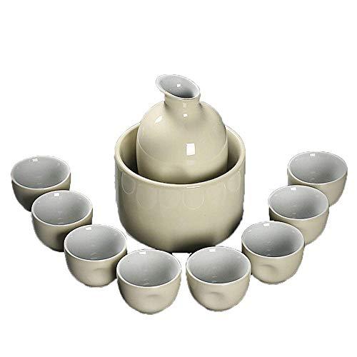 zvcv Teteras, Juego de 10 Piezas para Sake, Vino de cerámica de Color Crema de 10 oz con Calentador, Tazas artesanales Tradicionales, para Sake frío/Tibio/Caliente/Shochu/teteras