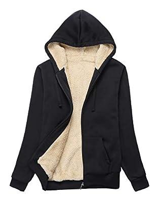 ZITY Womens Winter Fleece Jacket Coat Sherpa Lined Full Zip Up Hoodie Sweatshirt with Pocket Black-XL