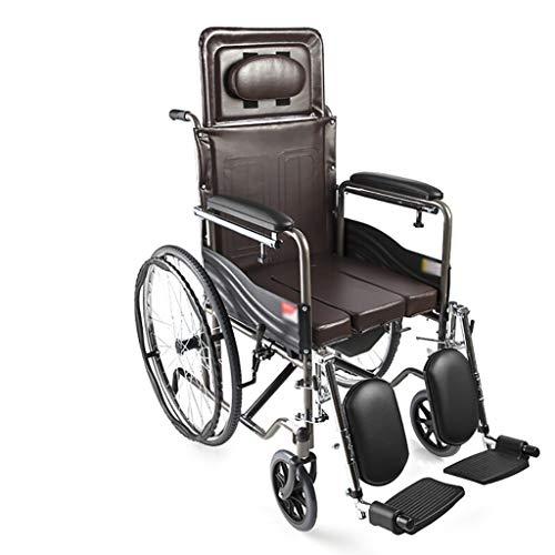 JINBAO Silla De Ruedas Plegable para Discapacitados Ancianos Plegables Respaldo Manual De Acero Freno Ortopédico Reposapiés Reposabrazos Ultraligero