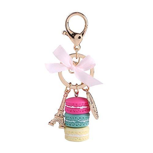 Colorido lindo macaron llavero anillo Torre Eiffel macaron encanto llavero bolsa monedero decoración para niños regalo de cumpleaños (azul)
