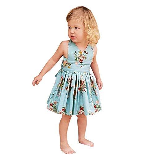 Julhold Kleinkind Kinder Baby Mädchen süß rückenfreie Schnürung Blumendruck verlieren Strampler Kleid Sommerkleid 0-4 Jahre